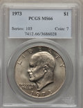 Eisenhower Dollars, 1973 $1 MS66 PCGS. PCGS Population (112/0). NGC Census: (27/1). Mintage: 2,000,056. Numismedia Wsl. Price for problem free ...