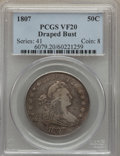 Early Half Dollars: , 1807 50C Draped Bust VF20 PCGS. PCGS Population (141/934). NGCCensus: (45/570). Mintage: 301,076. Numismedia Wsl. Price fo...