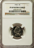 Proof Jefferson Nickels, 1962 5C PR69 Ultra Cameo NGC. NGC Census: (27/0). PCGS Population (57/0). Numismedia Wsl. Price for problem free NGC/PCGS ...