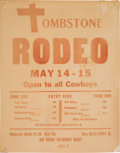 Miscellaneous:Ephemera, Tombstone, Arizona: Rare Rodeo Poster....