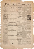 """Miscellaneous:Newspaper, """"The Daily Tombstone"""": """"The Only Republican Paper in CochiseCounty...""""..."""