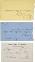 Miscellaneous:Ephemera, Wells, Fargo & Company: Rare Postal Cover and Enclosure....(Total: 3 )
