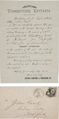 Miscellaneous:Newspaper, Tombstone, Arizona: Invoice for Second Oldest TombstoneNewspaper.... (Total: 2 Items)