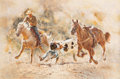 Art, Robert Kennedy Abbett (American, 1926-2015): Painting DepictingCowboy Wrestling Steer, Bull Doggin', 1980. ...