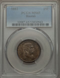 Coins of Hawaii , 1883 25C Hawaii Quarter MS65 PCGS. PCGS Population (184/127). NGCCensus: (148/125). Mintage: 242,600. ...
