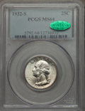 Washington Quarters, 1932-S 25C MS64 PCGS. CAC. PCGS Population (1169/152). NGC Census:(595/74). Mintage: 408,000. Numismedia Wsl. Price for pr...