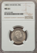 Coins of Hawaii , 1883 25C Hawaii Quarter MS61 NGC. NGC Census: (63/847). PCGSPopulation (57/1177). Mintage: 242,600. ...