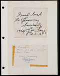 Football Collectibles:Others, Joe Foss and Cliff Battles Signed Cut Signatures (2)....
