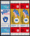 Baseball Collectibles:Tickets, 1982 and 1985 World Series Full Tickets Lot of 3....