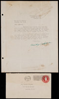 Baseball Collectibles:Others, 1931 Mickey Cochrane Signed Letter. ...