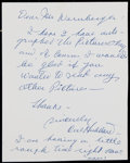 Baseball Collectibles:Others, Cal Hubbard Handwritten, Signed Letter....