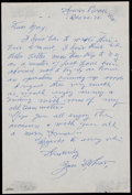 Baseball Collectibles:Others, 1970 Zack Wheat Handwritten, Signed Letter....