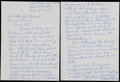Baseball Collectibles:Others, 1967 Lloyd Waner Handwritten, Signed Letter - HOF Content....