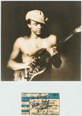 Music Memorabilia:Autographs and Signed Items, Stevie Ray Vaughan Signed Ticket and Photograph, 1989....
