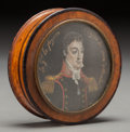 Decorative Arts, Continental:Other , A French Burled Walnut and Painted Portrait Snuffbox: GeneralLafayette, 19th century. 3-1/8 inches diameter (7.9 cm...