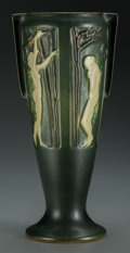 Ceramics & Porcelain, British:Modern  (1900 1949)  , An Early Roseville Pottery Rosecraft Art Deco CeramicPaneled Vase, circa 1925. Marks: R. 11-1/2 inches high...