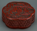 Asian:Chinese, A Small Chinese Carved Cinnabar Covered Box, 19th century. 1-1/4 hx 3-3/4 d inches (3.2 x 9.5 cm). ...