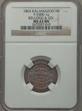 Civil War Merchants, 1863 Kalamazoo MI, F-530-1A, MS63 NGC KELLOGG & CO. ...