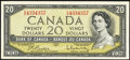 Canadian Currency: , BC-41b $20 1954.. ...