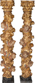 Furniture : Continental, A Pair of Italian Carved Giltwood Figural Solomonic Columns, late17th-early 18th century. 66 h x 10 w x 10 inches deep (167...(Total: 2 Items)