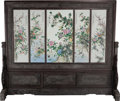 Asian:Chinese, A Large Chinese Five-Panel Polychrome Porcelain Screen in HardwoodFrame, 20th century. 81 h x 98-1/2 w inches (205.7 x 250....