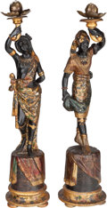 Decorative Arts, Continental:Lamps & Lighting, A Pair of Venetian Carved Partial Gilt and Polychrome BlackamoorElectrified Torchieres, early 20th century. 48-3/4 inches h...(Total: 2 Items)