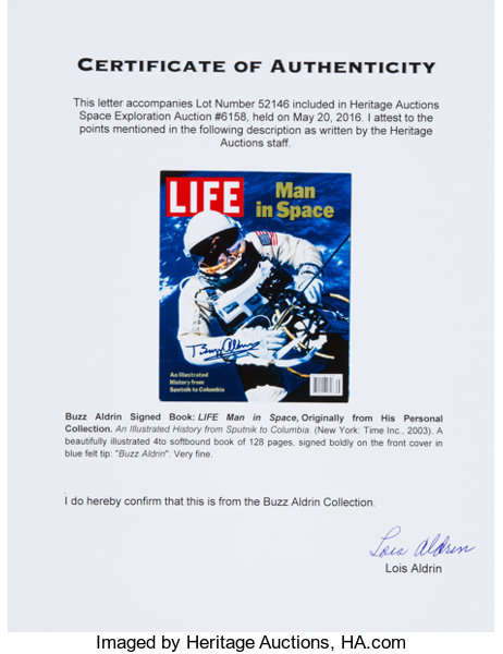 Buzz Aldrin Signed Book: LIFE Man in Space, Originally from