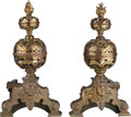 Decorative Arts, Continental:Other , A Pair of Continental Renaissance Revival-Style Bronze Chenets, late 19th century. 26 h x 23-1/2 d inches (66.0 x 59.7 cm). ... (Total: 2 Items)
