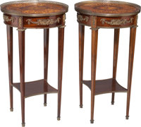 A Pair of French Empire-Style Gilt Bronze, Mahogany and Fruitwood Gueridons, early 20th century 28-3/4 h x 16 d in