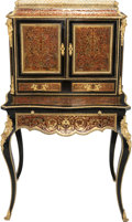 Furniture , A Napoleon III Gilt Bronze Mounted Boulle Marquetry and Lacquered Wood Bonheur du Jour, late 19th century. 50-1/2 h x 29-1/4...