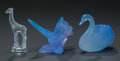 Art Glass:Daum, Two Daum Pate-de-Verre Glass and A Lalique Clear and Frosted GlassAnimal Figurines, late 20th century. Marks to all: Daum...(Total: 3 Items)