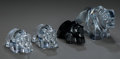 Art Glass:Other , A Group of Four Baccarat Clear and Black Glass BearPaperweights, Baccarat, France, late 20th century. Marks: ...(Total: 4 Items)