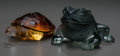 Art Glass:Lalique, Two Lalique Glass Animals: Turtle and Frog, late 20thcentury. Marks: Lalique, France. 6 inches long (15.2 ...(Total: 2 Items)