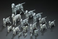 Ceramics & Porcelain, British:Modern  (1900 1949)  , A Group of Seventeen Porcelain and Metal Dalmatians Figurines, 20thcentury. Marks: (various marks). 12-1/2 inches long (31.... (Total:17 Items)