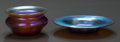 Art Glass:Tiffany , A Tiffany Studios Favrile Glass Salt Cellar with Under Plate,Corona, New York, circa 1894. Marks to both: L.C.T., A2303; ...(Total: 2 Items)