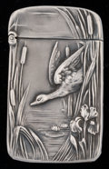 Silver Smalls:Match Safes, An Unger Partial Gilt Silver Match Safe: Duck and Pond,Newark, New Jersey, circa 1905. Marks: UB (interlace...