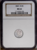 Seated Half Dimes: , 1865 H10C MS64 NGC. Very well struck for this briefly minted P-mint(13,000 pieces), with a hard semi-reflective sheen on t...