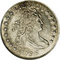 Early Dimes: , 1796 10C MS60, Cleaned, Minor Tooling, Once Mounted, Uncertified.JR-2, R.4. The date is spaced 1 796, and star 15 touches ...