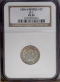 Early Dimes: , 1805 10C 4 Berries VF35 NGC. JR-2, R.2. Waves of gold, ruby, andocean-blue colors dominate the obverse, while the reverse ...