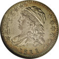 Bust Dimes: , 1811/09 10C MS63 NGC. JR-1, R.3. Medium-gray and golden colorsconsume both sides, while the reverse adds a dash of turquoi...