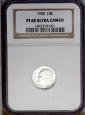 Proof Roosevelt Dimes: , 1955 10C PR68 Deep Cameo NGC. Stunning cameo contrast is evident onboth sides of this virtually untoned Superb Gem. The su...