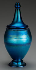 Art Glass:Tiffany , An Experimental Tiffany Studios Blue Favrile Glass Covered Vase,Corona, New York, circa 1917. Marks to lid and body: L C....(Total: 2 Items)