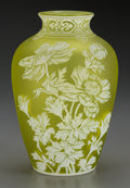 Art Glass:Webb, A Thomas Webb & Sons Overlay Yellow Glass Floral Vase,Stourbridge, England, circa 1900. 10 inches high (25.4 cm). ...