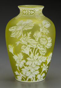 A Thomas Webb & Sons Overlay Yellow Glass Floral Vase, Stourbridge, England, circa 1900 10 inches high (25.4 cm)
