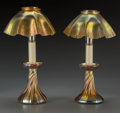 Art Glass:Tiffany , A Pair of Tiffany Studios Gold Favrile Glass Candlestick Lamps,Corona, New York, circa 1910. Marks: L.C.T.. 12-3/4 inch...(Total: 6 Items)