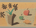 Post-War & Contemporary:Pop, David Hockney (British, b. 1937). Two Apples and One Lemon and Four Flowers. Color print on newspaper. 13-1/2 x 20 inche...