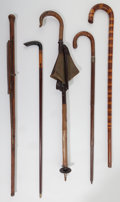 Decorative Arts, Continental:Other , Five Various Wooden Canes, late 19th-20th century. 38 inches high(96.5 cm) (tallest). ... (Total: 5 Items)