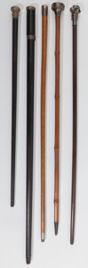 Decorative Arts, Continental:Other , Five Silver-Tipped Canes, late 19th-20th century. Marks: (various).38-1/2 inches high (97.8 cm). ... (Total: 5 Items)