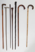 Decorative Arts, Continental:Other , Seven Wood, Metal, and Horn Canes, 19th-20th century. 37-3/4 inches high (95.9 cm) (tallest). ... (Total: 7 Items)