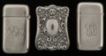 Silver Smalls:Match Safes, Three Gorham Silver Match Safes, Providence, Rhode Island, circa1891 & 1899. Marks to all: (lion-anchor-G), STERLING,(... (Total: 3 Items)